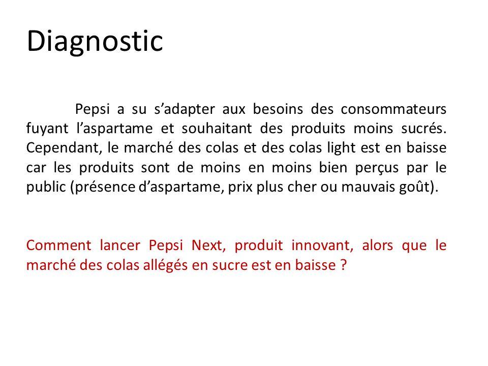 Diagnostic Pepsi a su sadapter aux besoins des consommateurs fuyant laspartame et souhaitant des produits moins sucrés. Cependant, le marché des colas