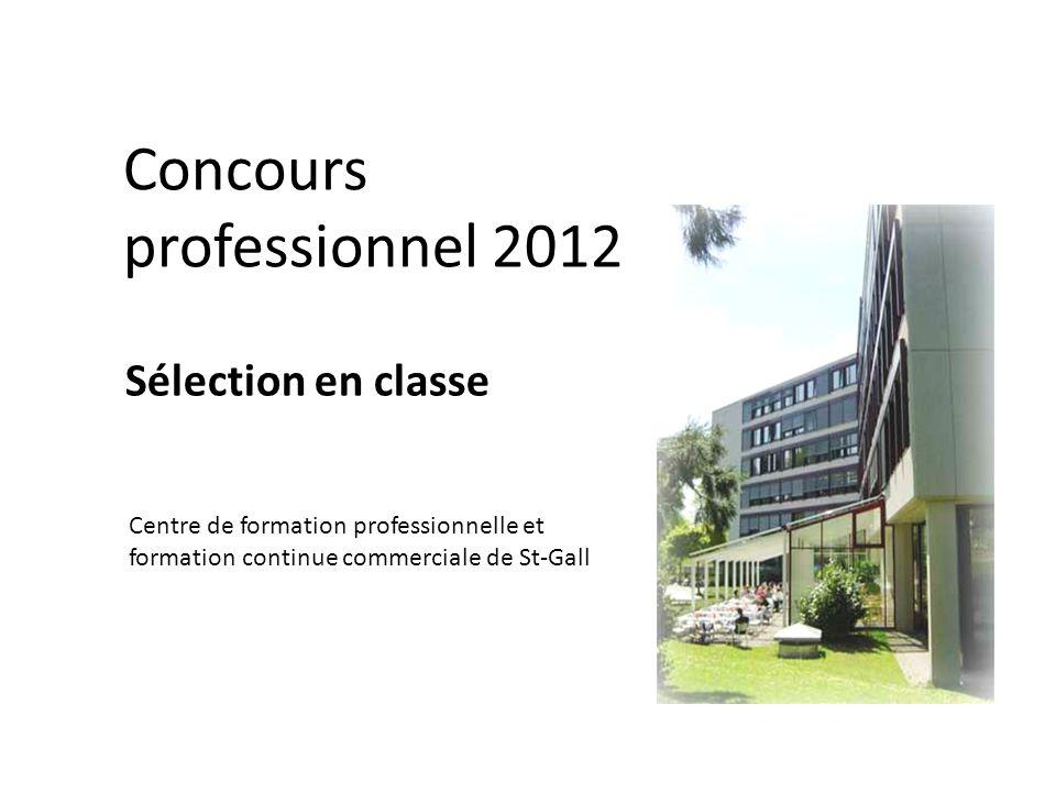 Concours professionnel 2012 Sélection en classe Centre de formation professionnelle et formation continue commerciale de St-Gall