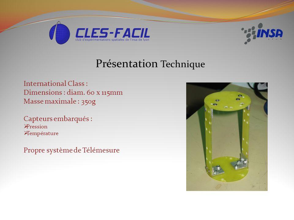 Présentation Technique International Class : Dimensions : diam. 60 x 115mm Masse maximale : 350g Capteurs embarqués : Pression Température Propre syst