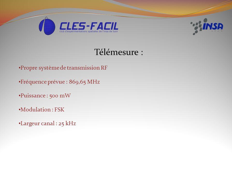 Télémesure : Propre système de transmission RF Fréquence prévue : 869,65 MHz Puissance : 500 mW Modulation : FSK Largeur canal : 25 kHz
