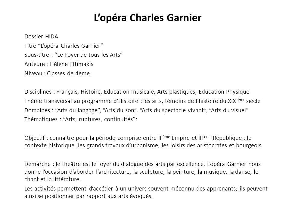 Lopéra Charles Garnier Dossier HIDA Titre Lopéra Charles Garnier Sous-titre : Le Foyer de tous les Arts Auteure : Hélène Eftimakis Niveau : Classes de