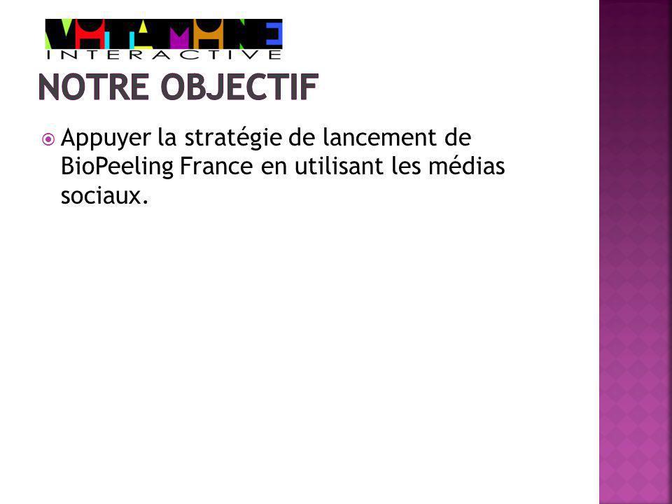Appuyer la stratégie de lancement de BioPeeling France en utilisant les médias sociaux.