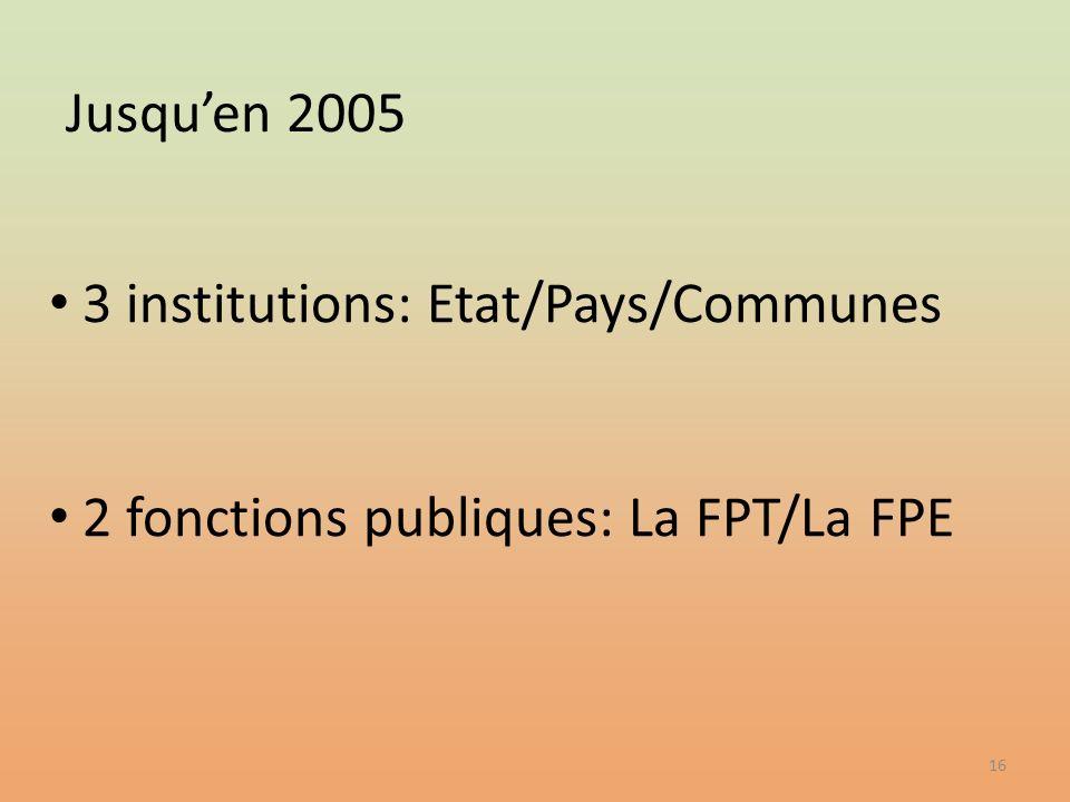 16 3 institutions: Etat/Pays/Communes 2 fonctions publiques: La FPT/La FPE Jusquen 2005