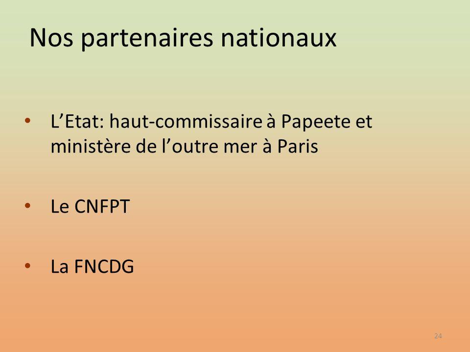 24 LEtat: haut-commissaire à Papeete et ministère de loutre mer à Paris Le CNFPT La FNCDG Nos partenaires nationaux