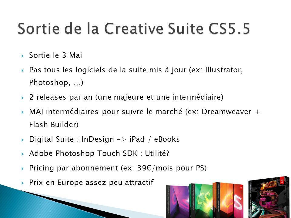Sortie le 3 Mai Pas tous les logiciels de la suite mis à jour (ex: Illustrator, Photoshop, …) 2 releases par an (une majeure et une intermédiaire) MAJ intermédiaires pour suivre le marché (ex: Dreamweaver + Flash Builder) Digital Suite : InDesign -> iPad / eBooks Adobe Photoshop Touch SDK : Utilité.