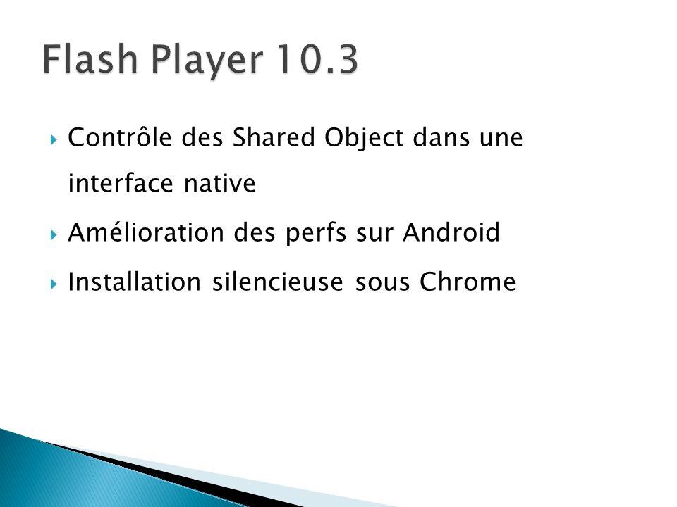Contrôle des Shared Object dans une interface native Amélioration des perfs sur Android Installation silencieuse sous Chrome