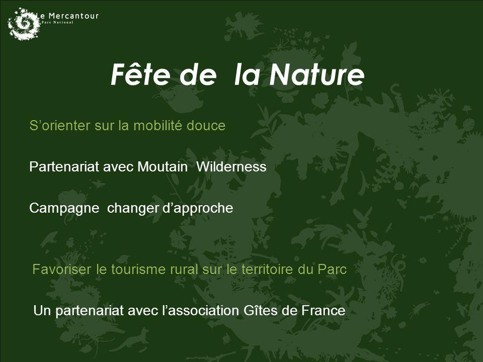 Fête de la Nature Sorienter sur la mobilité douce Partenariat avec Moutain Wilderness Campagne changer dapproche Favoriser le tourisme rural sur le territoire du Parc Un partenariat avec lassociation Gîtes de France