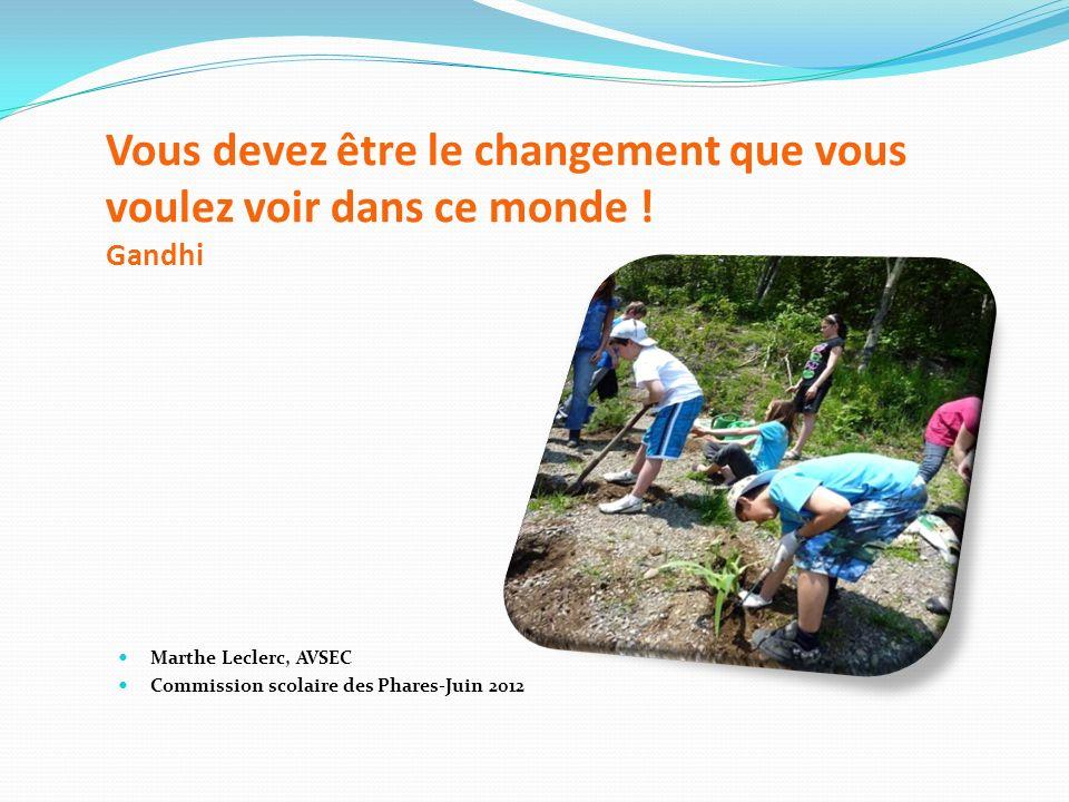 Vous devez être le changement que vous voulez voir dans ce monde ! Gandhi Marthe Leclerc, AVSEC Commission scolaire des Phares-Juin 2012