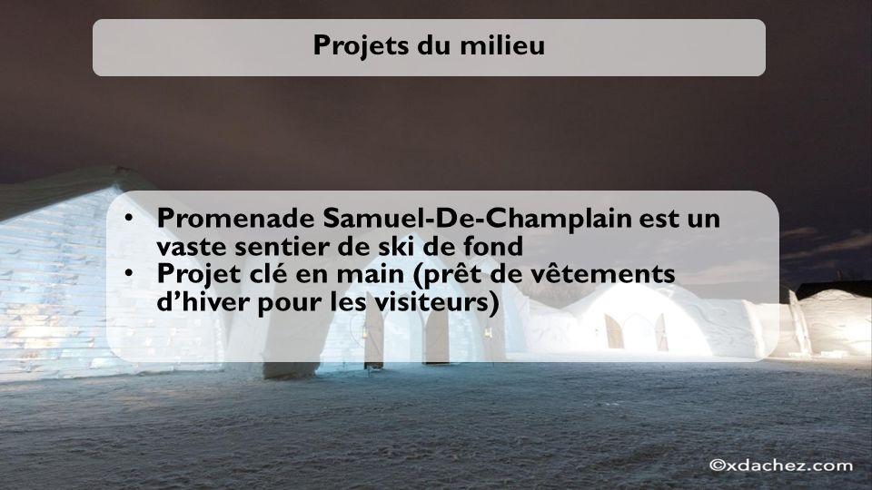 Projets du milieu Promenade Samuel-De-Champlain est un vaste sentier de ski de fond Projet clé en main (prêt de vêtements dhiver pour les visiteurs)