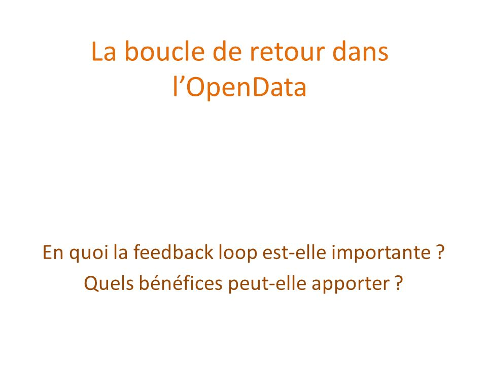 Importance de la boucle de retour Mise à disposition des données de lentreprise Utilisation par des acteurs externes Retour sur les données utilisées Bénéfice