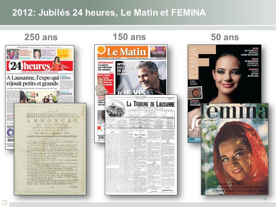 I 10 2012: Jubilés 24 heures, Le Matin et FEMINA 250 ans50 ans 150 ans