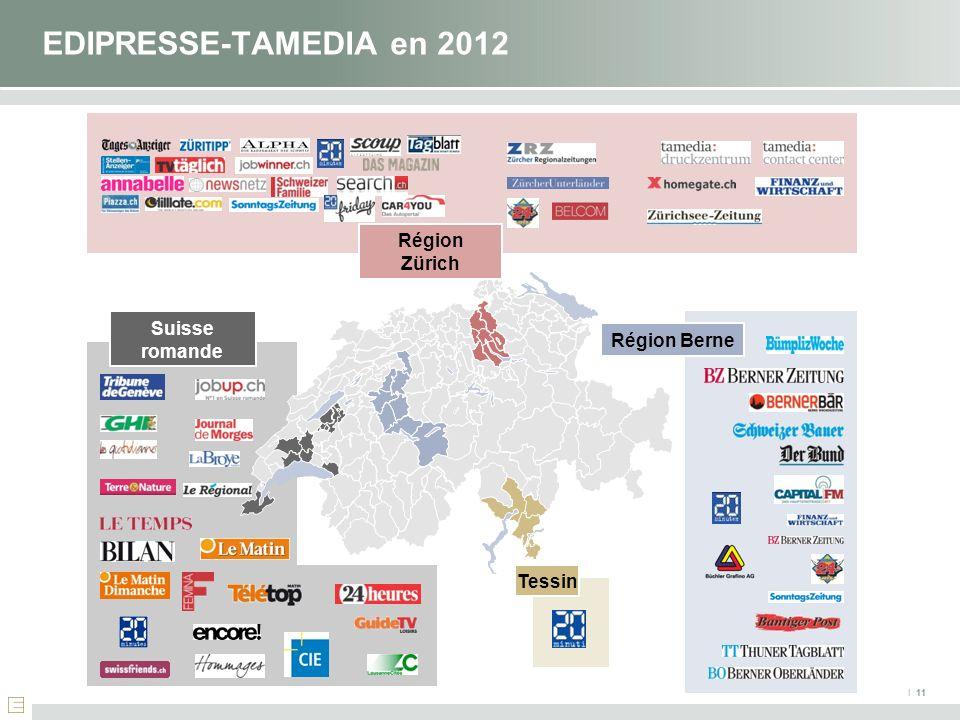 I 11 EDIPRESSE-TAMEDIA en 2012 Suisse romande Région Zürich Tessin Région Berne