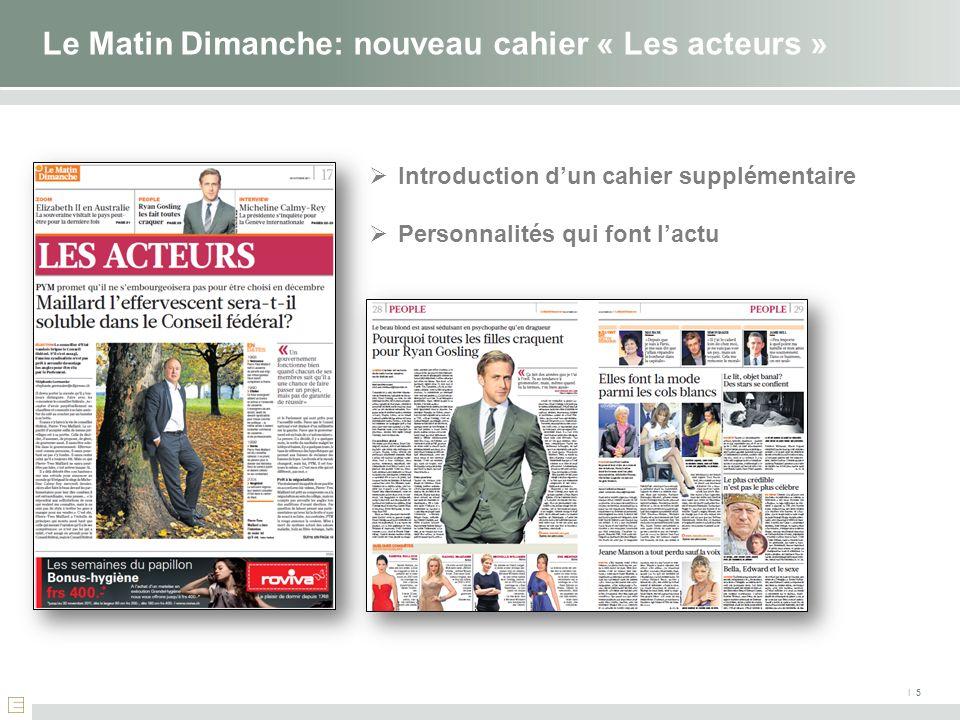 I 5 Le Matin Dimanche: nouveau cahier « Les acteurs » Introduction dun cahier supplémentaire Personnalités qui font lactu
