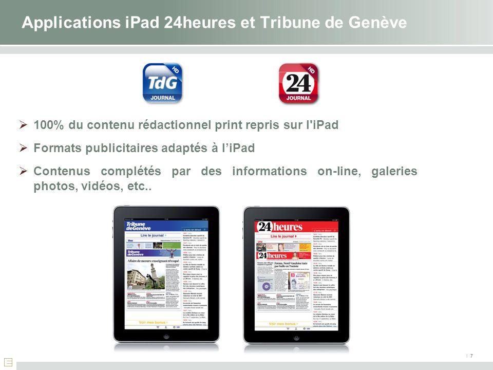 100% du contenu rédactionnel print repris sur l'iPad Formats publicitaires adaptés à liPad Contenus complétés par des informations on-line, galeries p