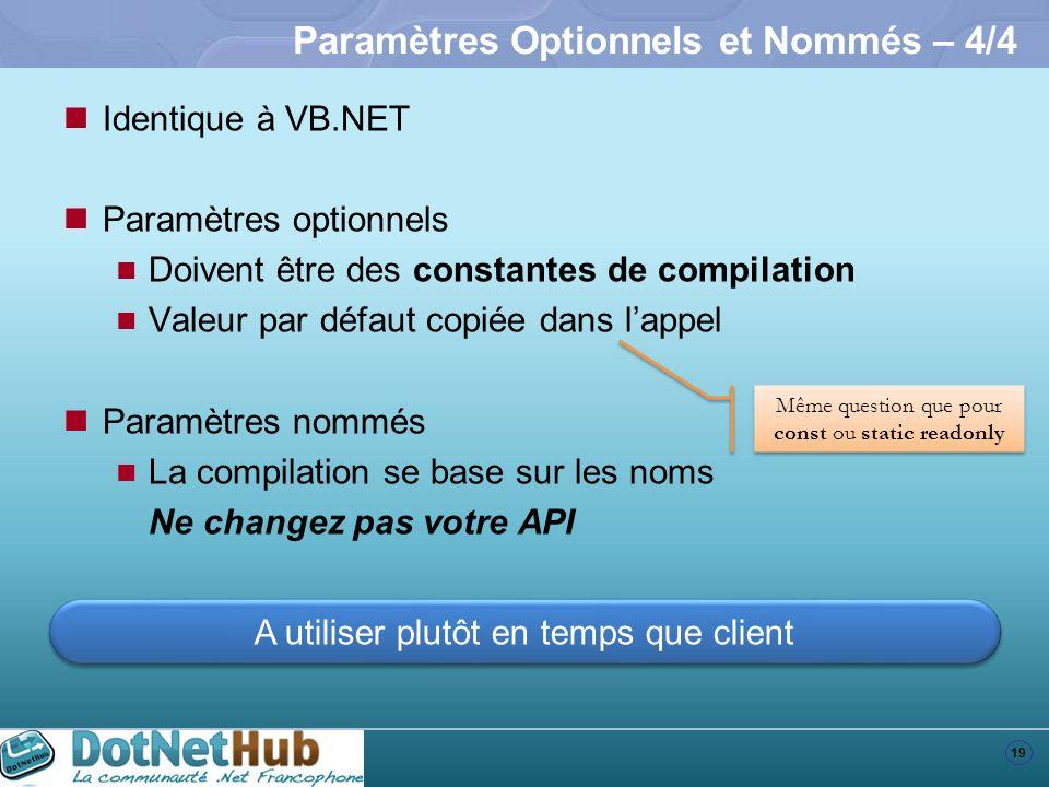 19 Paramètres Optionnels et Nommés – 4/4 Identique à VB.NET Paramètres optionnels Doivent être des constantes de compilation Valeur par défaut copiée