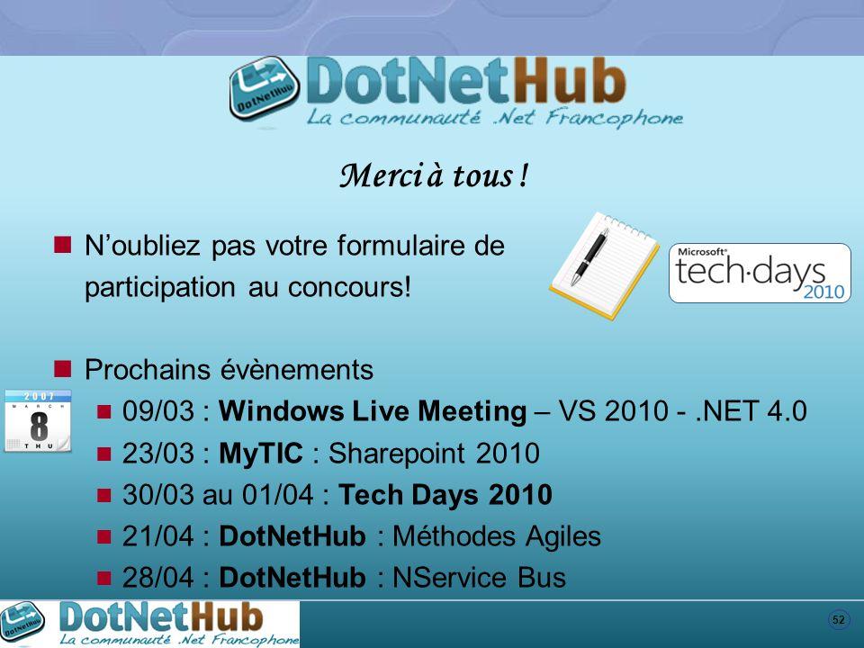 52 Noubliez pas votre formulaire de participation au concours! Prochains évènements 09/03 : Windows Live Meeting – VS 2010 -.NET 4.0 23/03 : MyTIC : S