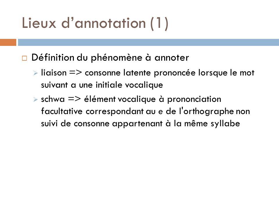 Lieux dannotation (1) Définition du phénomène à annoter liaison => consonne latente prononcée lorsque le mot suivant a une initiale vocalique schwa =>