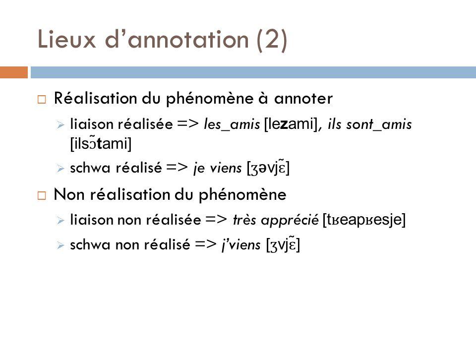 Lieux dannotation (2) Réalisation du phénomène à annoter liaison réalisée => les_amis [lezami], ils sont_amis [ils ɔ ̃tami] schwa réalisé => je viens