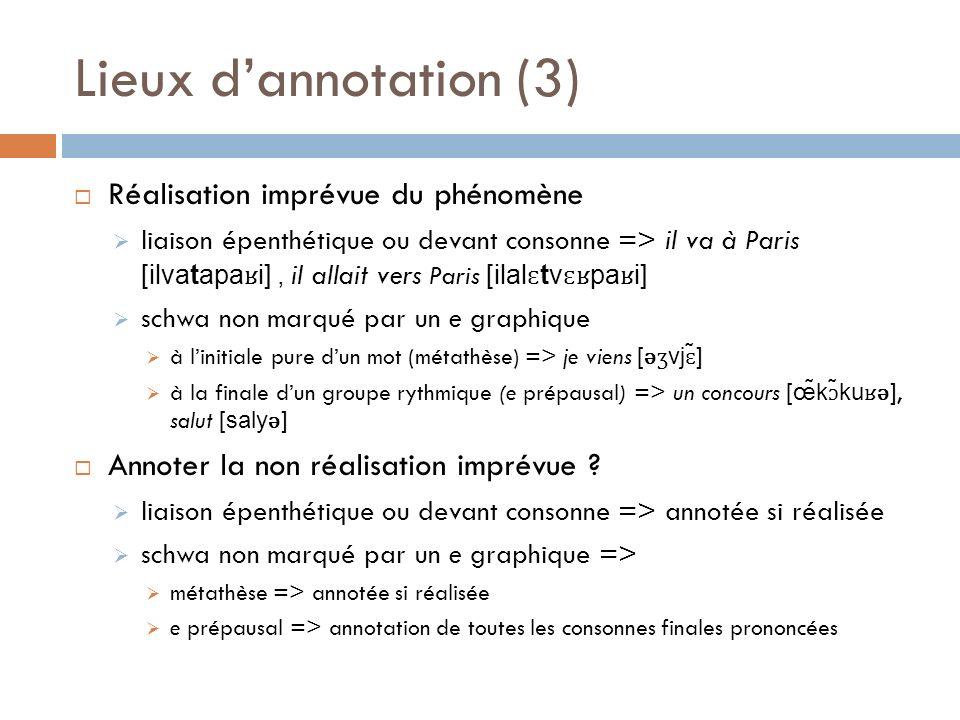Lieux dannotation (3) Réalisation imprévue du phénomène liaison épenthétique ou devant consonne => il va à Paris [ilvatapa ʁ i], il allait vers Paris