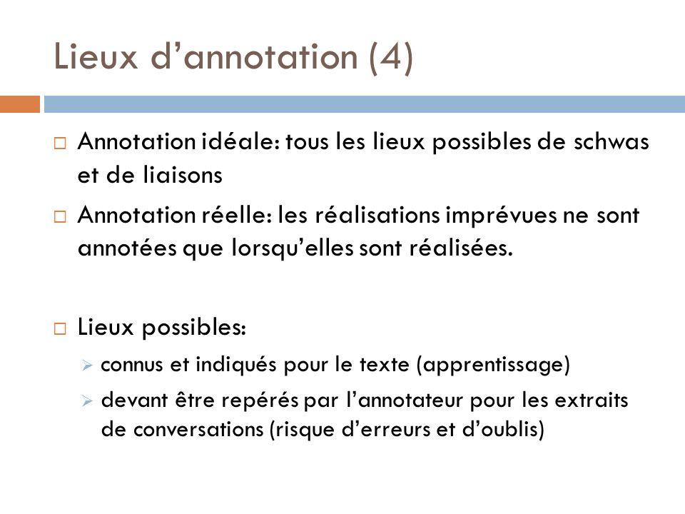Lieux dannotation (4) Annotation idéale: tous les lieux possibles de schwas et de liaisons Annotation réelle: les réalisations imprévues ne sont annot