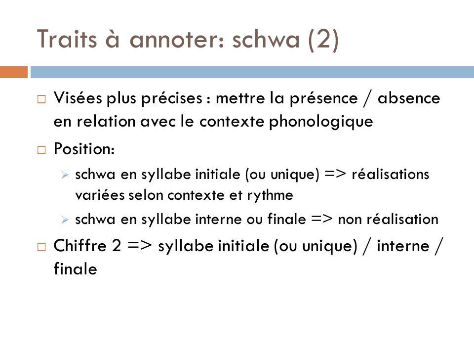 Traits à annoter: schwa (2) Visées plus précises : mettre la présence / absence en relation avec le contexte phonologique Position: schwa en syllabe i