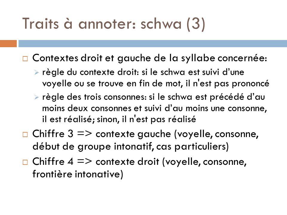 Traits à annoter: schwa (3) Contextes droit et gauche de la syllabe concernée: règle du contexte droit: si le schwa est suivi dune voyelle ou se trouv
