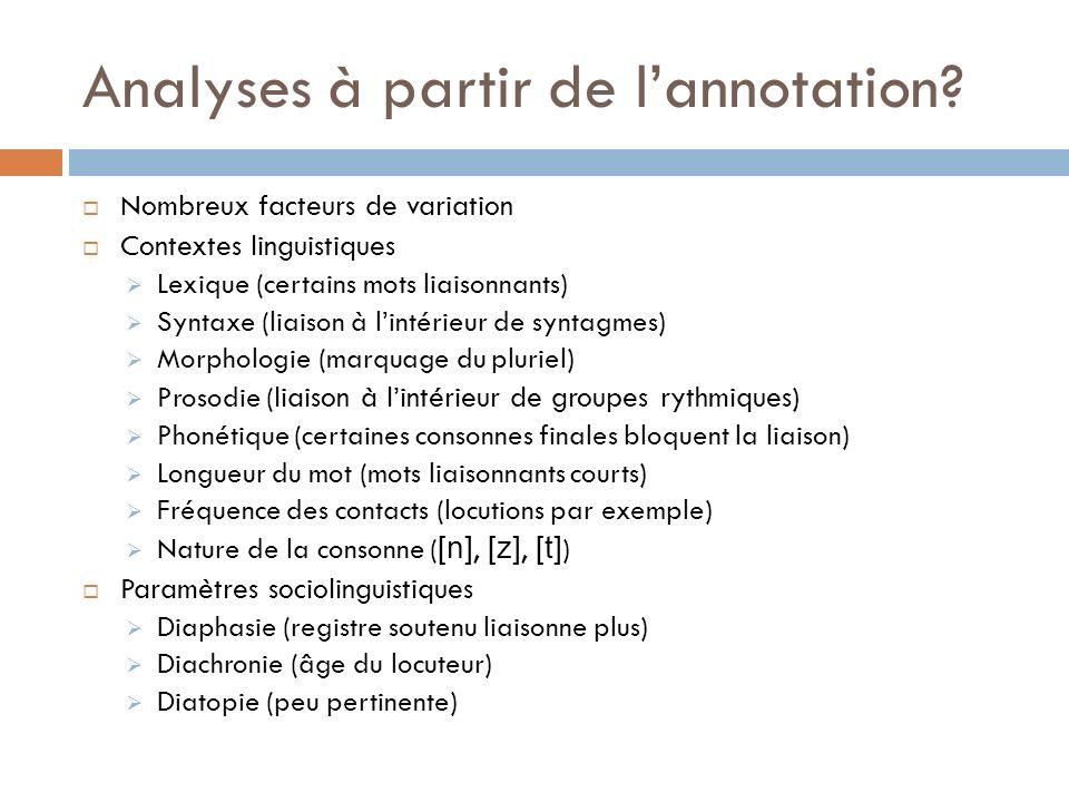 Analyses à partir de lannotation? Nombreux facteurs de variation Contextes linguistiques Lexique (certains mots liaisonnants) Syntaxe (liaison à linté