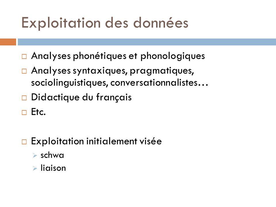 Exploitation des données Analyses phonétiques et phonologiques Analyses syntaxiques, pragmatiques, sociolinguistiques, conversationnalistes… Didactiqu