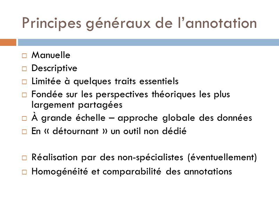 Principes généraux de lannotation Manuelle Descriptive Limitée à quelques traits essentiels Fondée sur les perspectives théoriques les plus largement