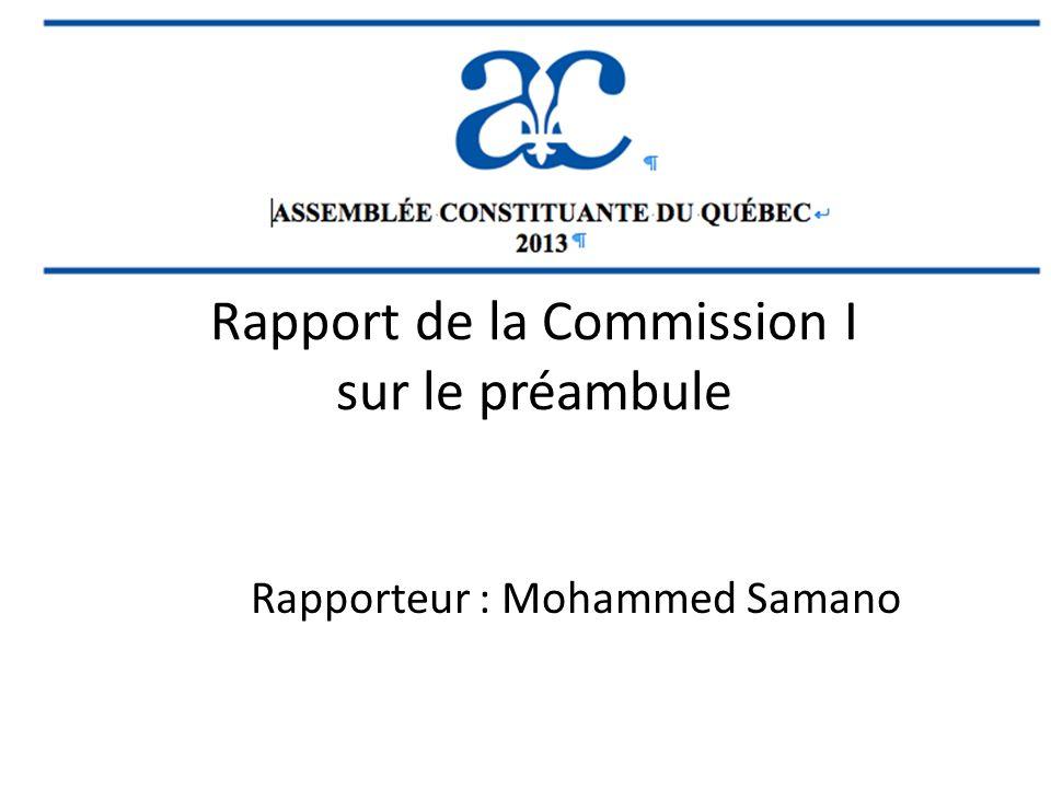 Rapport de la Commission I sur le préambule Rapporteur : Mohammed Samano