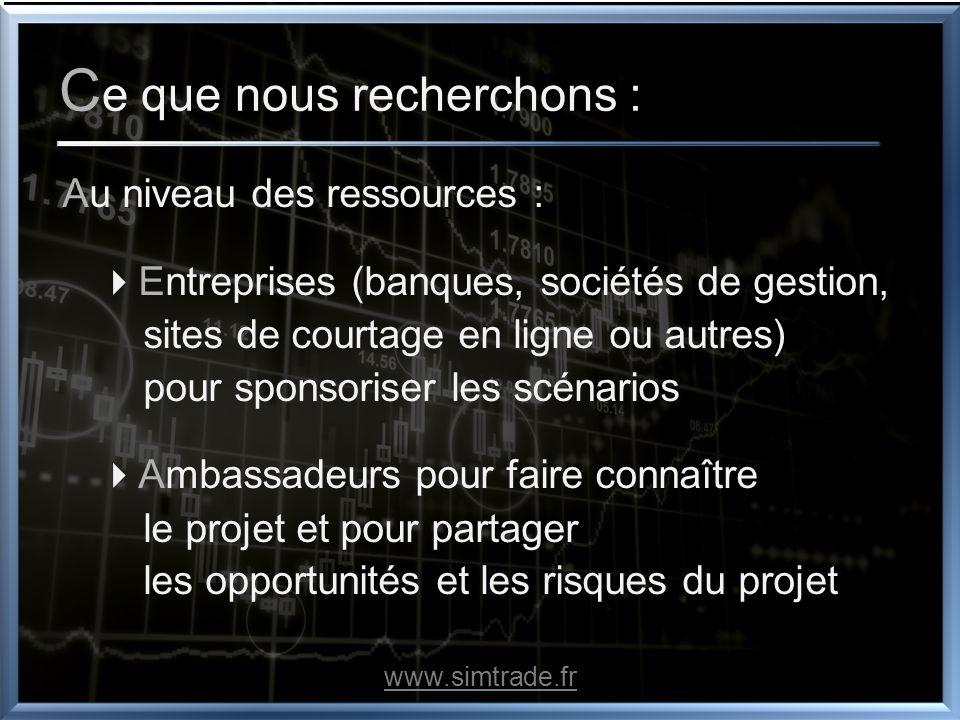 C e que nous recherchons : Au niveau des ressources : Entreprises (banques, sociétés de gestion, sites de courtage en ligne ou autres) pour sponsorise
