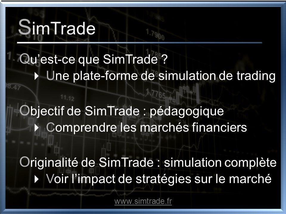S imTrade Q uest-ce que SimTrade ? Une plate-forme de simulation de trading O bjectif de SimTrade : pédagogique Comprendre les marchés financiers O ri