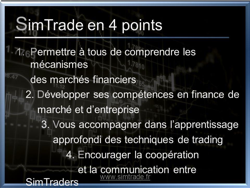 S imTrade en 4 points 1.Permettre à tous de comprendre les mécanismes des marchés financiers 2. Développer ses compétences en finance de marché et den