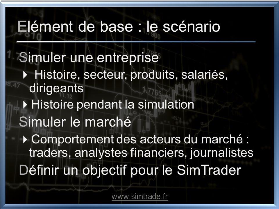 Elément de base : le scénario Simuler une entreprise Histoire, secteur, produits, salariés, dirigeants Histoire pendant la simulation Simuler le march