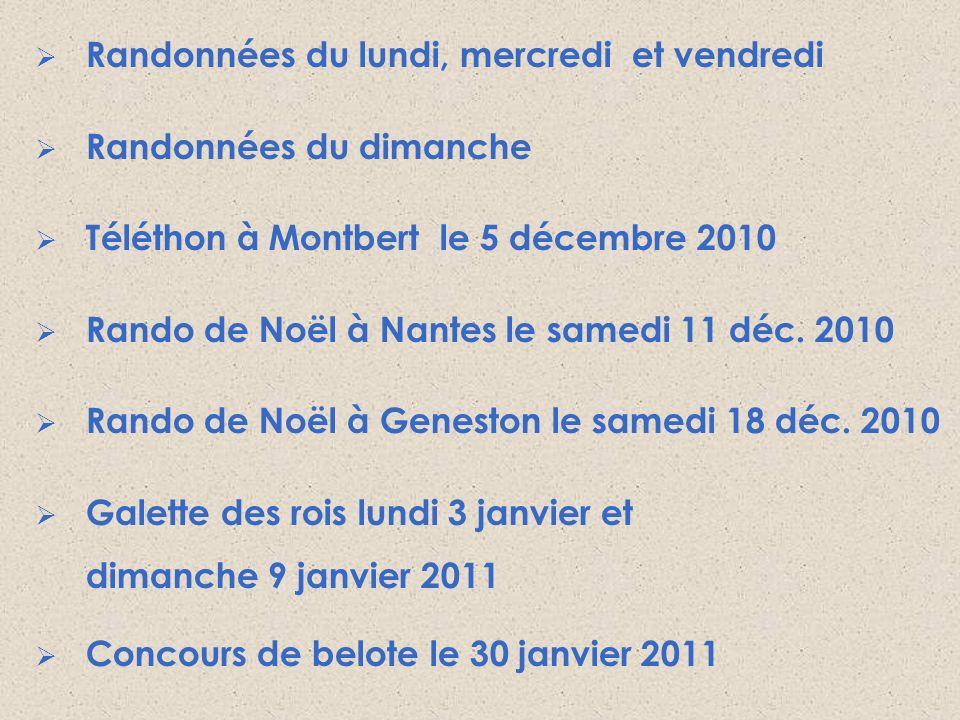 Randonnées du lundi, mercredi et vendredi Randonnées du dimanche Téléthon à Montbert le 5 décembre 2010 Rando de Noël à Nantes le samedi 11 déc. 2010