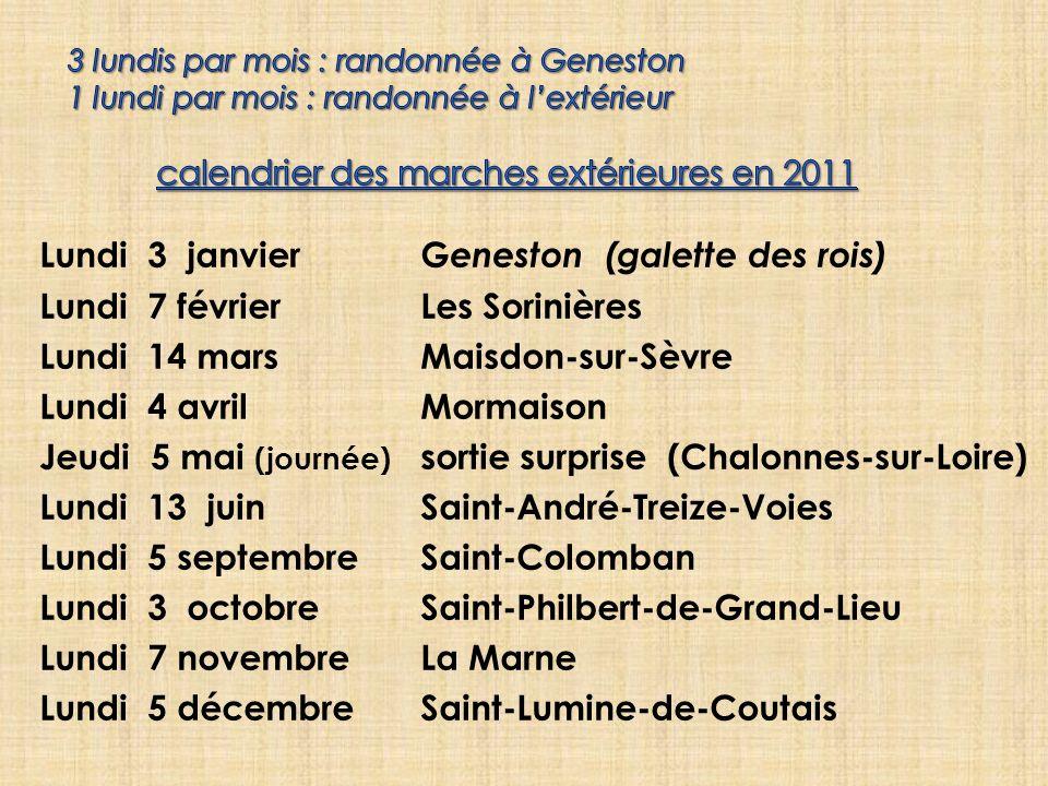 Lundi 3 janvierG eneston (galette des rois) Lundi 7 févrierLes Sorinières Lundi 14 marsMaisdon-sur-Sèvre Lundi 4 avrilMormaison Jeudi 5 mai (journée)
