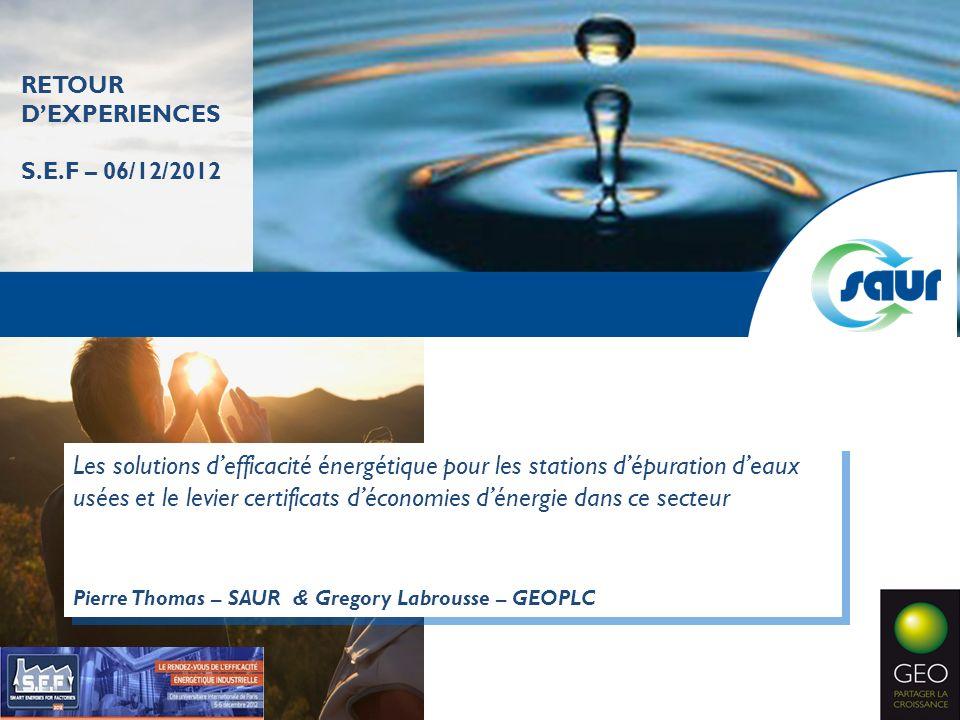 Les solutions defficacité énergétique pour les stations dépuration deaux usées et le levier certificats déconomies dénergie dans ce secteur Pierre Tho