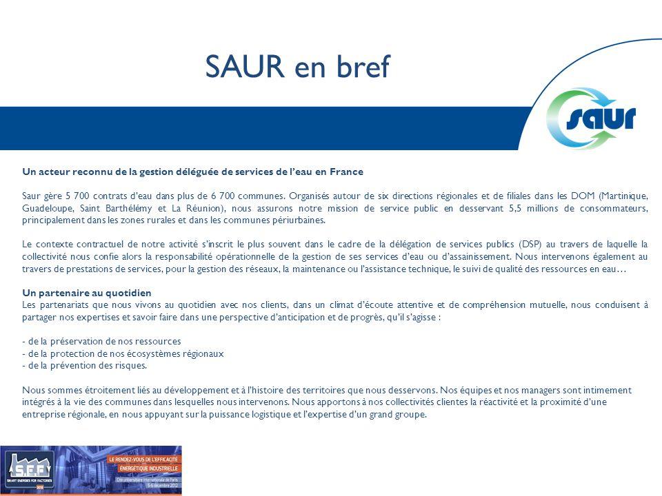 SAUR en bref Un acteur reconnu de la gestion déléguée de services de leau en France Saur gère 5 700 contrats deau dans plus de 6 700 communes. Organis