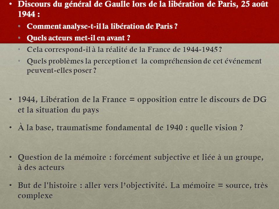 Discours du général de Gaulle lors de la libération de Paris, 25 août 1944 : Discours du général de Gaulle lors de la libération de Paris, 25 août 1944 : Comment analyse-t-il la libération de Paris .