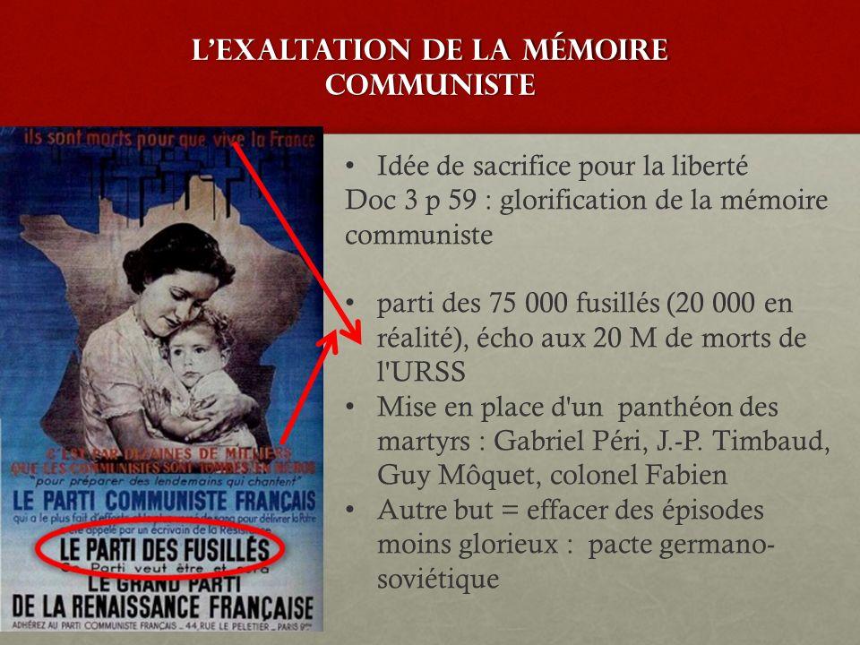 Lexaltation de la mémoire communiste Idée de sacrifice pour la liberté Doc 3 p 59 : glorification de la mémoire communiste parti des 75 000 fusillés (