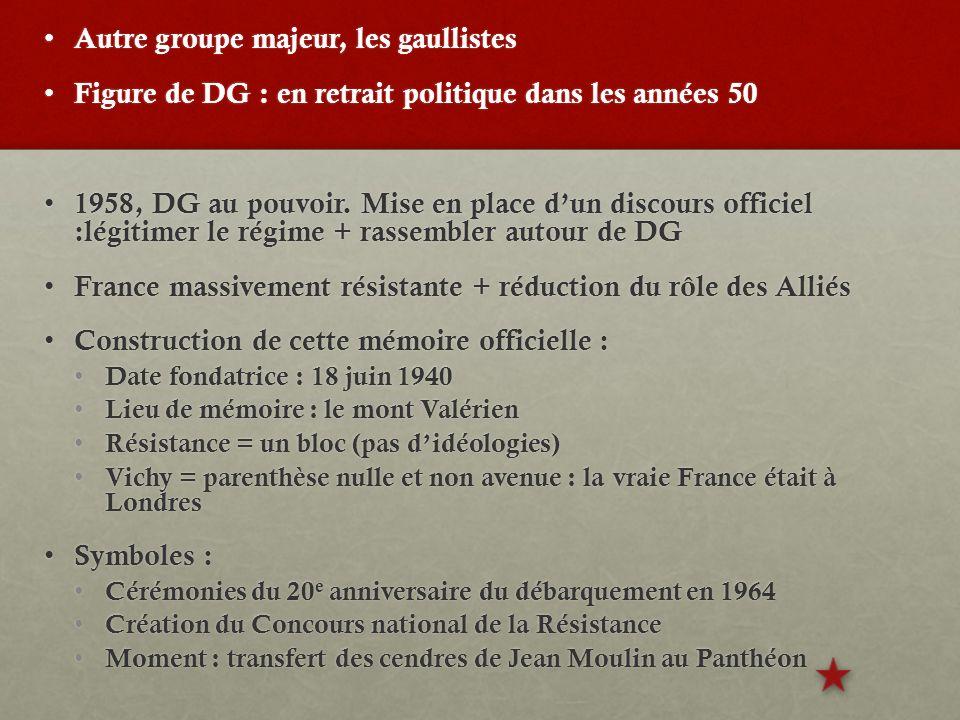 Autre groupe majeur, les gaullistes Autre groupe majeur, les gaullistes Figure de DG : en retrait politique dans les années 50 Figure de DG : en retrait politique dans les années 50 1958, DG au pouvoir.