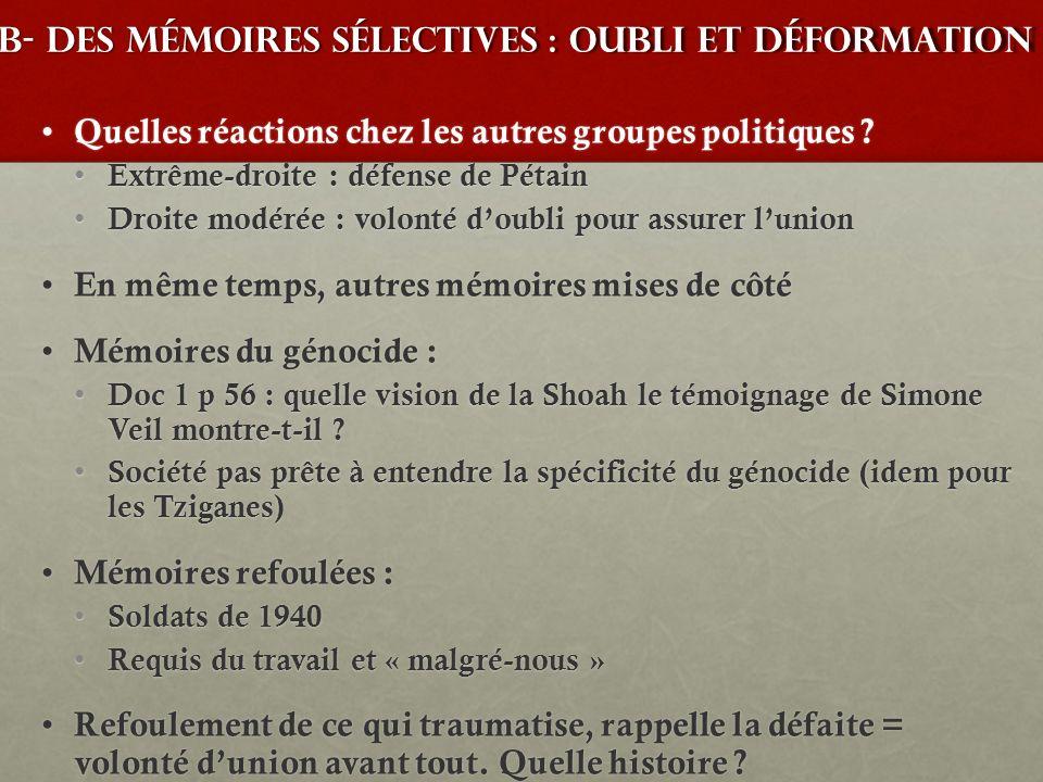 B- des mémoires sélectives : oubli et déformation Quelles réactions chez les autres groupes politiques ? Quelles réactions chez les autres groupes pol