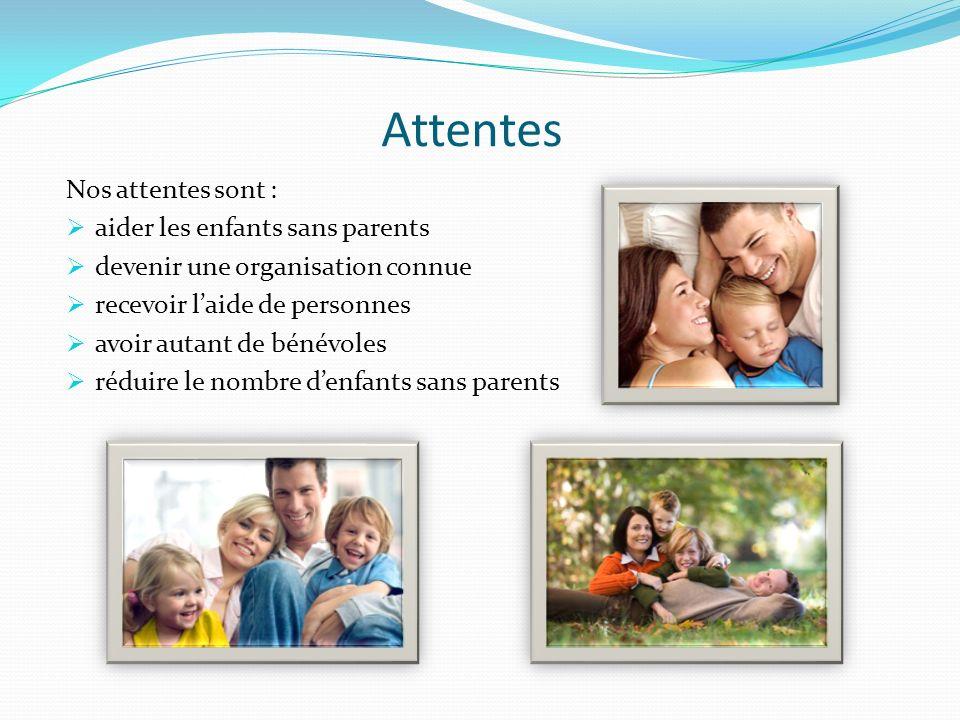 Attentes Nos attentes sont : aider les enfants sans parents devenir une organisation connue recevoir laide de personnes avoir autant de bénévoles réduire le nombre denfants sans parents
