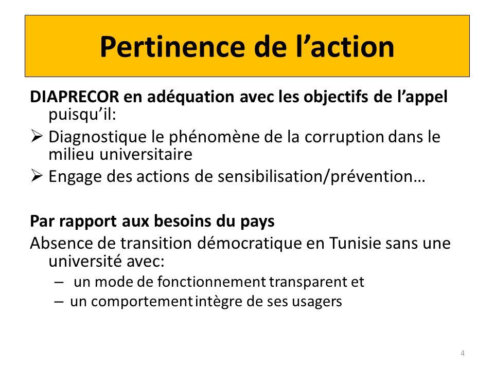 Pertinence de laction DIAPRECOR en adéquation avec les objectifs de lappel puisquil: Diagnostique le phénomène de la corruption dans le milieu univers