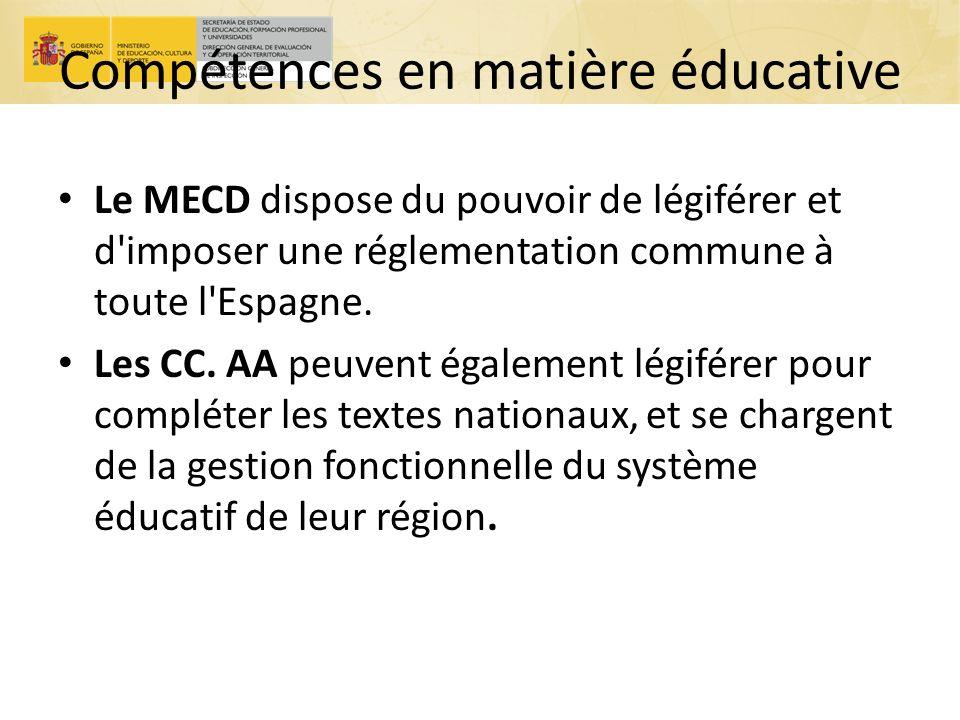 Compétences en matière éducative Le MECD dispose du pouvoir de légiférer et d'imposer une réglementation commune à toute l'Espagne. Les CC. AA peuvent