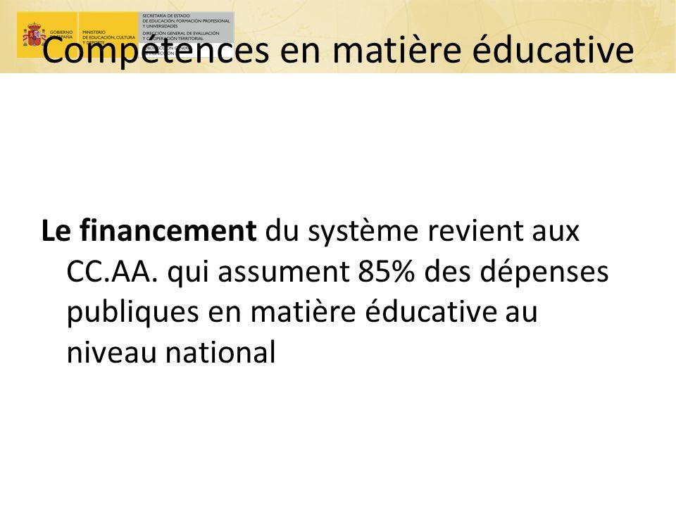 Compétences en matière éducative Le financement du système revient aux CC.AA. qui assument 85% des dépenses publiques en matière éducative au niveau n