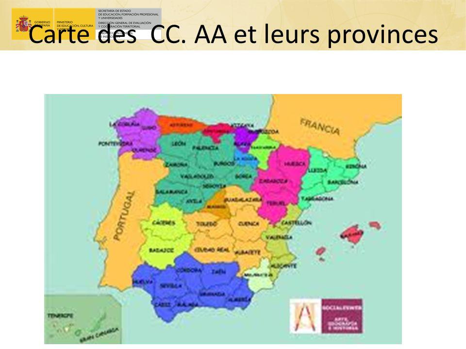 Carte des CC. AA et leurs provinces