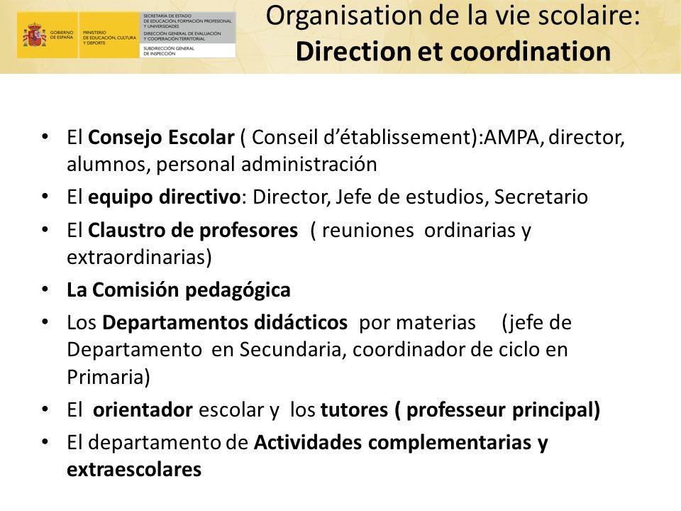 Organisation de la vie scolaire: Direction et coordination El Consejo Escolar ( Conseil détablissement):AMPA, director, alumnos, personal administraci
