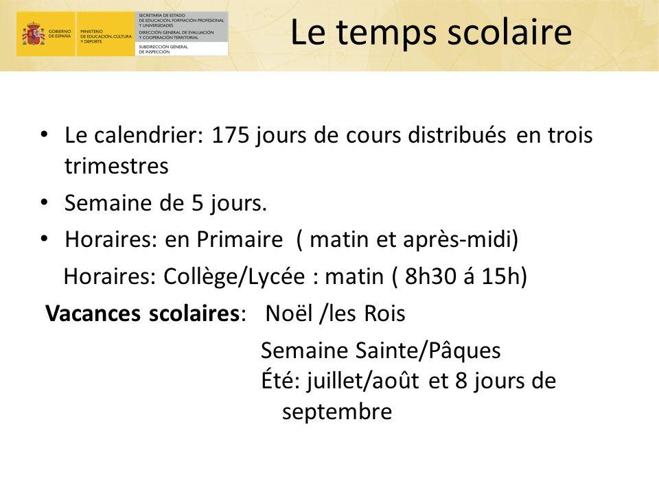 Le temps scolaire Le calendrier: 175 jours de cours distribués en trois trimestres Semaine de 5 jours. Horaires: en Primaire ( matin et après-midi) Ho