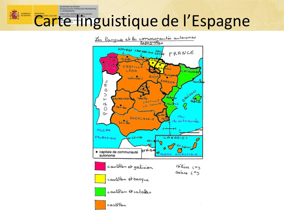 Carte linguistique de lEspagne le